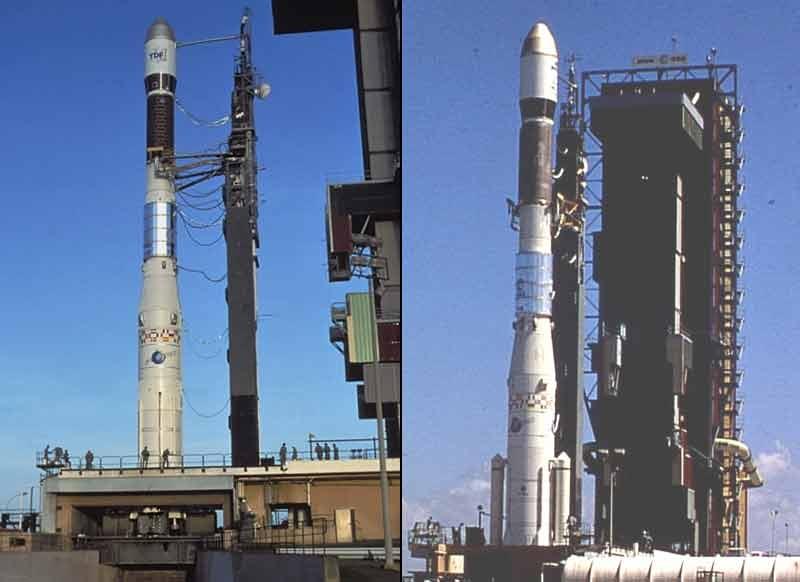 Ariane 2 (à gauche) et Ariane 3 (à droite) sur leur pas de tir. Crédits : CNES