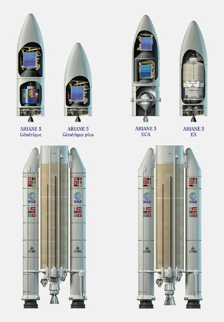 Configuration des différentes versions d'Ariane 5. Crédits : ESA/D.Ducros