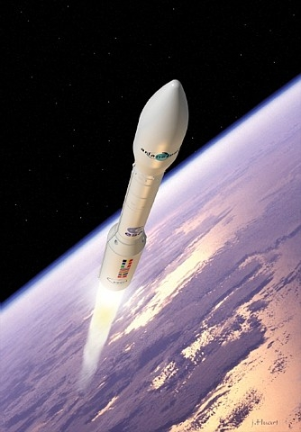 Le futur lanceur europén Vega. Crédits : ESA/J.Huart